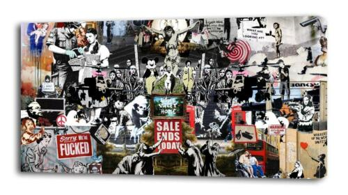 BANKSY COLLAGE CANVAS PRINT Home Wall Decor Art Graffiti Street Painting Giclee