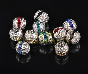 50pcs-8mm-Round-Crystal-amp-Metal-Charms-Loose-Spacer-Beads-Lot-Wholesale-Mixed
