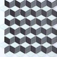 1 SQ M 3D Effect White Grey Black Glass Mosaic Wall Tiles Bathroom Basin 0083