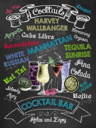 Cocktail bar rétro style vintage métal étain signe Cadeau Décoration Pub