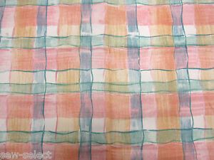 120-cm-x-137-rosa-pastel-verde-cuadros-tela-de-cortina-material-Rika-Bloomcraft