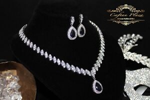 2 Tlg. Zirkonia Aaa+ Schmuckset Halskette Ohrringe brautschmuck Silber Blau