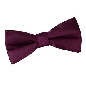 DQT-Satin-Plain-solide-Prune-communion-Page-Garcons-Pre-Tied-Bow-Tie