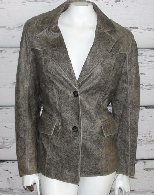 Q.U.E~LAMBSKIN~SOFT LEATHER~DISTRESSED~EMBOSSED PAISLEY~FASHION JACKET~L (RARE)
