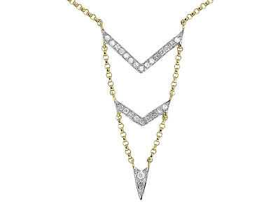 "Jewelry & Watches Jewelry & Watches 14k Yellow Gold Ladies Pave Diamond Chevron 18"" Chevron Pendant Necklace 0.25ct"