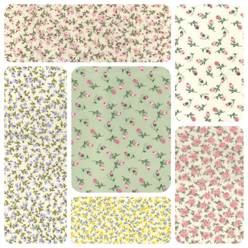 100/% Cotton Poplin Fabric Rose /& Hubble small floral designs Craft dressmaking.