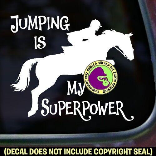 Jumping superpuissance Vinyl Decal Sticker Hunter JUMPER HORSE rider Voiture Fenêtre Signe