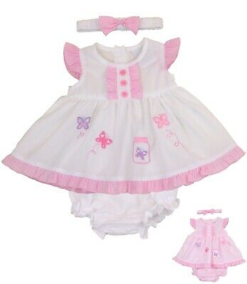 BabyPrem Baby Clothes Girls Pink White 3 Piece Dresses Dress Headband Pants 0-9m