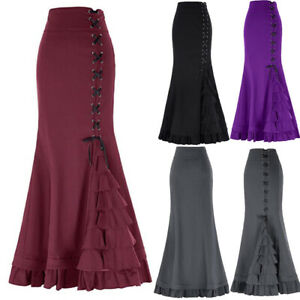 Vintage-Women-Gothic-Long-Steampunk-Skirt-Mermaid-Maxi-Fishtail-Victorian-Dress