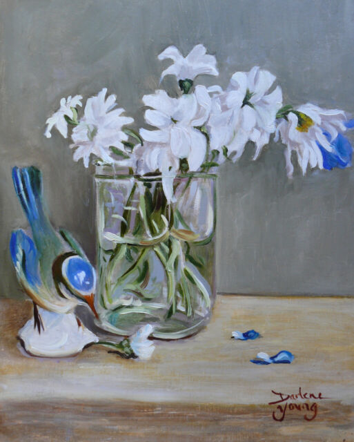 Bluebird and Daisies,  8x10, Oil , Darlene Young Canadian Artist