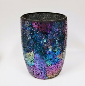 NEW-IRIDESCENT-COBALT-BLUE-TEAL-PURPLE-GLASS-MOSAIC-WASTE-BASKET-TRASH-CAN