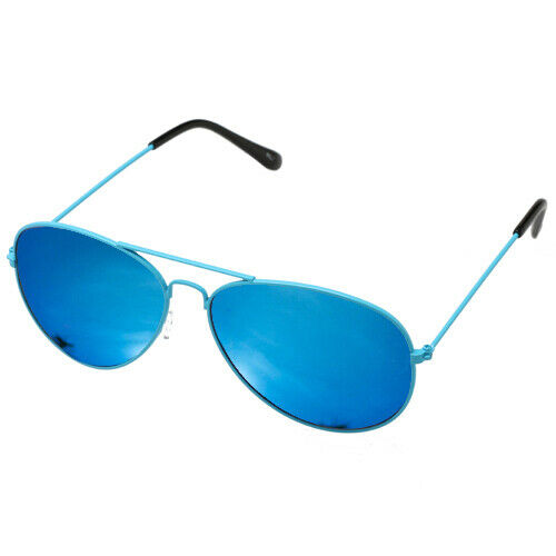 Green Metal Round Frame Fashion Sunglasses Blue Mirror Mens Womens Unisex