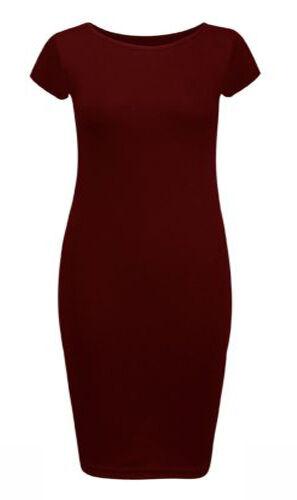 Womens Ladies Short Sleeve Midi Dress Bodycon PLUS SIZE Cap Maxi Midi Dress 8-26