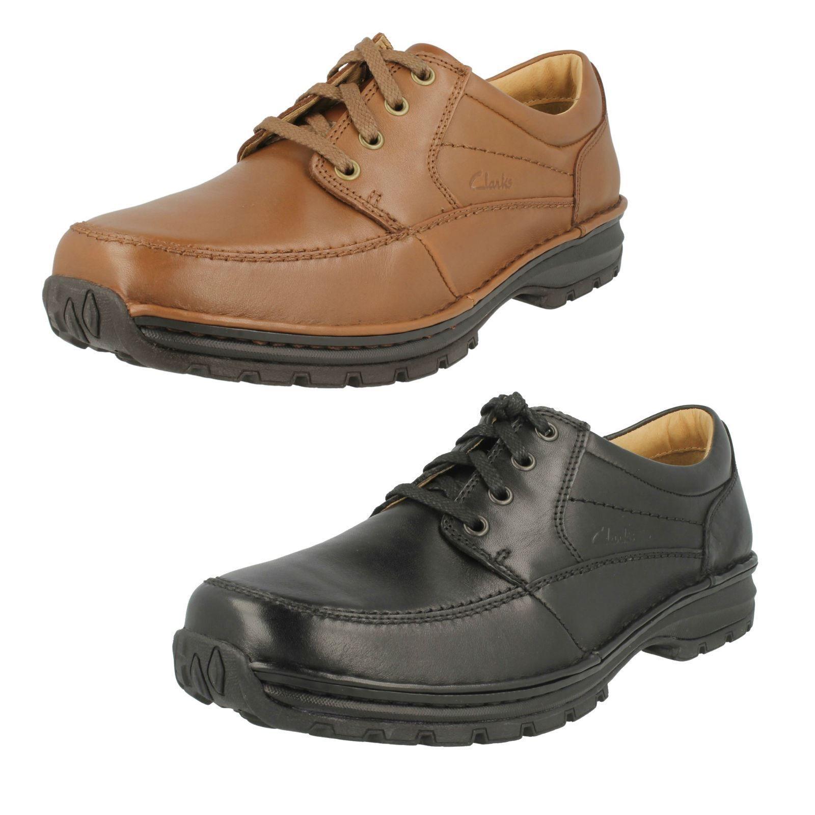 Herren schwarz/braun Clarks Schnürer H- Passform Schuhe Sidmouth Meile