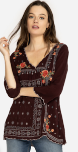 JOHNNY-WAS-3-4-Sleeve-V-Neck-Tunic-BENNET-Blouse-Embroidered-Roses-XS-218
