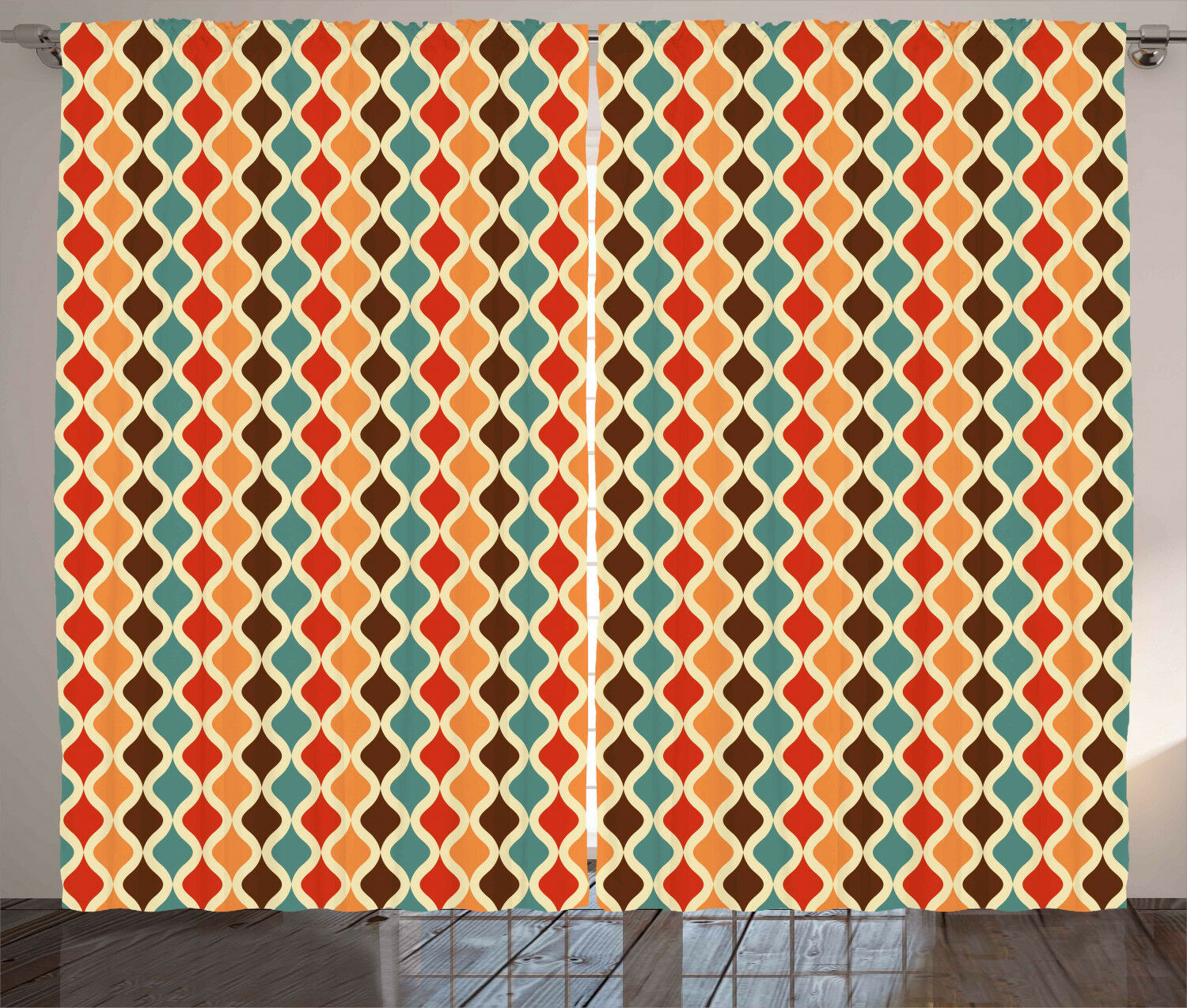 Geometric Curtains Funky Funky Funky Vintage Forms Window Drapes 2 Panel Set 108x84 Inches 8f58cc