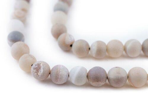 Pearl Round Druzy Agate Beads 8mm Grey Gemstone 16 Inch Strand