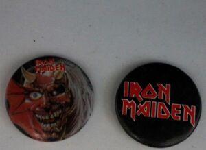 "Vintage Retro 1983 IRON MAIDEN Demonic Beast Logo 1.25"" Pin Badge TWO Button Lot"