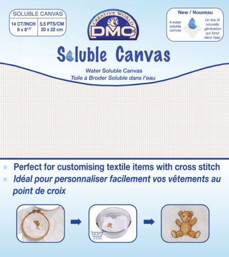 DMC Soluble Canvas 14 Count 20 x 22 cm 8 X 8.5 White