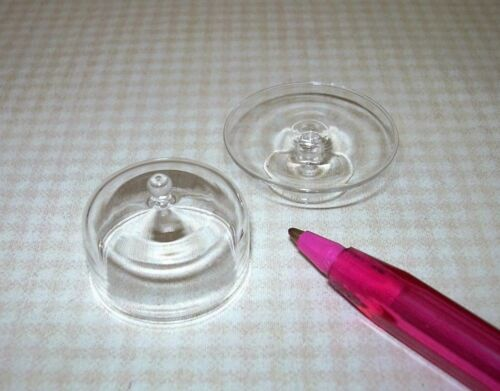 DOLLHOUSE 1:12 Miniature LARGE COVERED Clear Glass Pedestal Cake Plate Stand