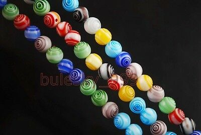 Wholesale 20/100pcs Millefiori Glass Charm Loose Spacer Round Beads 6mm Colorful