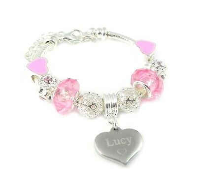 SanaBelle\u2122 Personalised Engraved Name Pink Leather /& Stainless Steel Bracelet Women/'s  Girl/'s