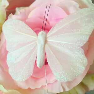 Weiss 10cm Glitzer Feder Schmetterlinge X12 Creme Shabby Chic