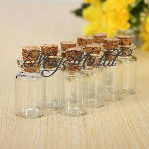 Hot  5/10/20/50Mini Small Cork Stopper Glass Bottles Vials Jars Container