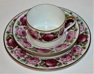Royal-Limoges-034-Rose-de-Paris-034-Kaffee-Teegedeck-3-teilig