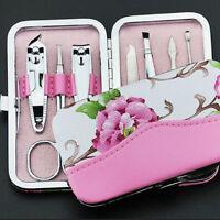 7 Pcs Nail Care Cutter Cuticle Clipper Manicure Pedicure Kit Case Gift Set FG