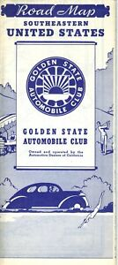 1940 Golden State Automobile Club Road Map: Southeastern United ...