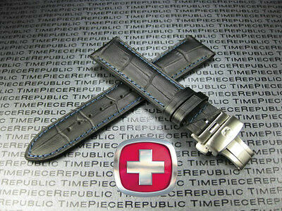21mm VICTORINOX SWISS ARMY Black LEATHER STRAP Deployment Brush Buckle BAND 21