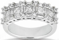 2.60 ct Princess, Round & Baguette Diamond Ring 14K White Gold Anniversary Band