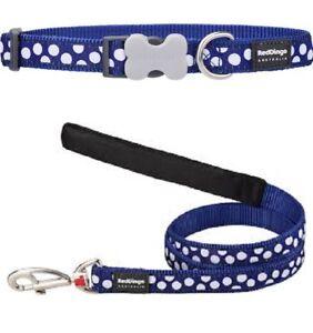 Red-Dingo-POLKA-DOT-SPOT-Collar-Lead-NAVY-BLUE-Dog-Puppy-Sizes-XS-LG