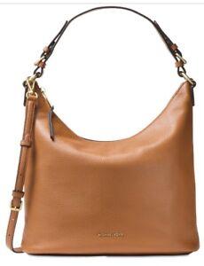 New Michael Kors Lupita Large Hobo leather Acorn Gold shoulder bag ... 2e4c62559331d