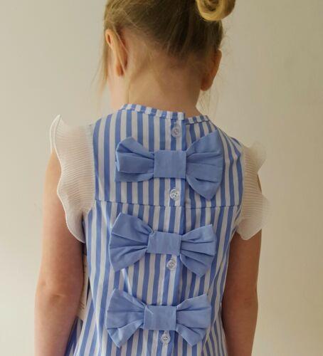 Girls Blue and White Stripe Summer Dress Spanish Style