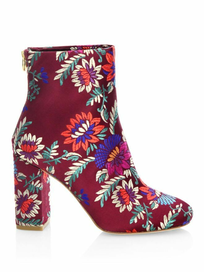 Joie Saleema Brocade Leather Ankle Boots Plum women's Booties Size 37