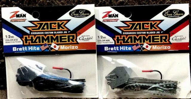 (2) Z-Man Jack Hammer Chatterbaits 1/2oz Bruised Green Pump & Green Pump Shad E8