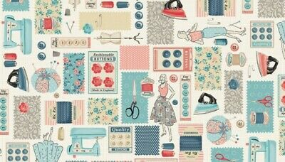 NOTIONS CREAM Makower 100/% cotton sewing theme fabric QUILTING STITCH IN TIME
