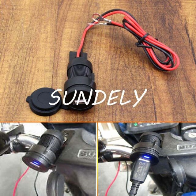 12V to 5V Motorcycle Mobile Phone USB Charger Power Adapter Socket Waterproof Uk