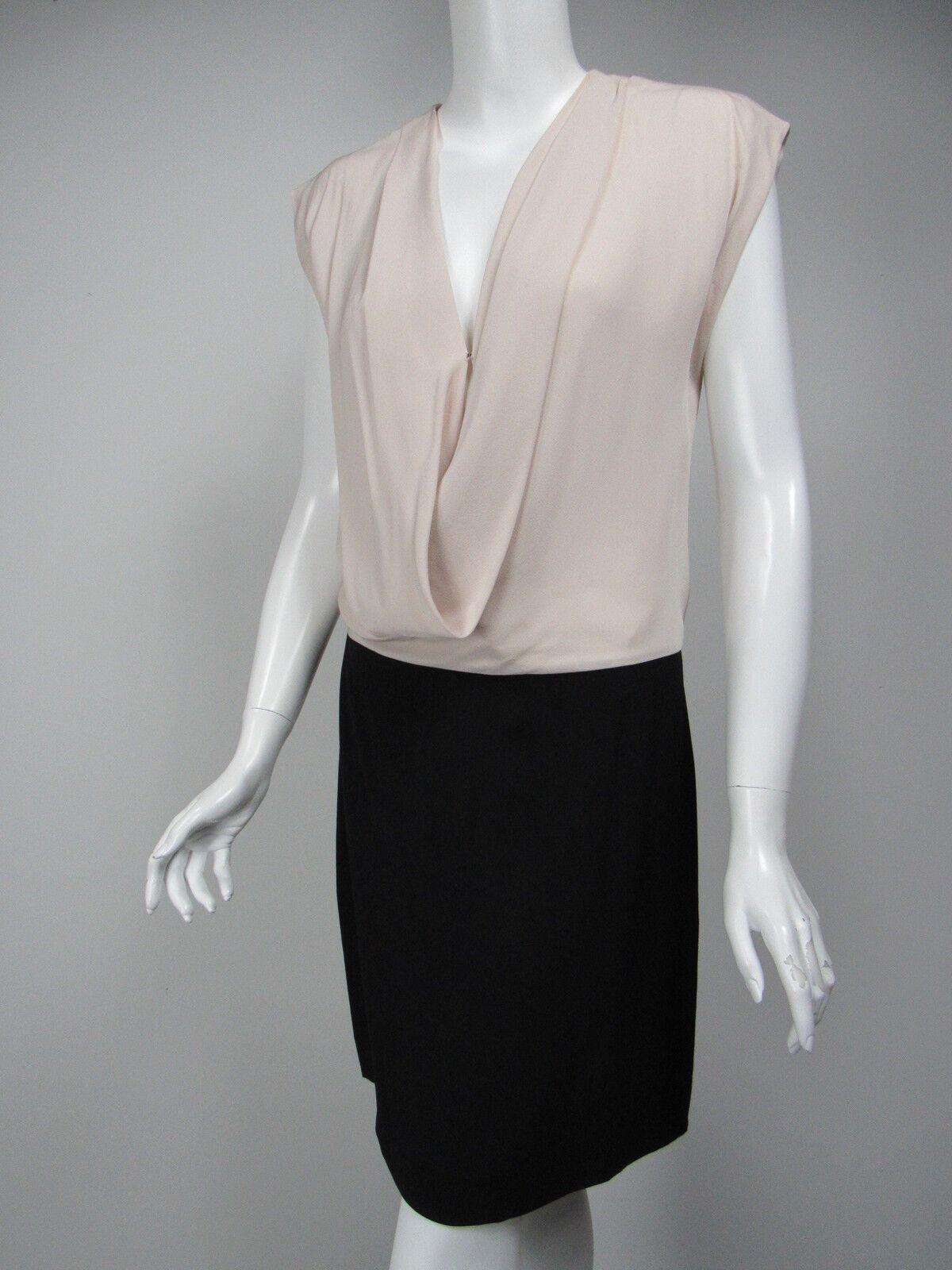 DIANE VON FURSTENBERG Reara Nude schwarz Silk Crepe Plunging Cowl Dress sz 4