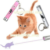 1*Pet Play Funny Cat Toy LED Light Laser Pointer Pen With Bright Mouse Animation