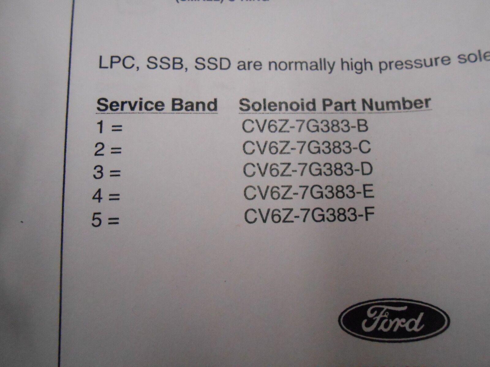 CV6Z-7G383-D 6F35 SHIFT SOLENOID NORMALLY HIGH BLACK NOZZLE #3 FLOW SSB//SSD//LPC