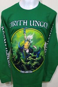 CIRITH-UNGOL-Frost-And-Fire-GREEN-LS-SHIRT-SIZE-LARGE-100-COTTON-YAZBEK-BRAND