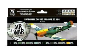 Av-Vallejo-Luftwaffe-couleurs-pre-Guerre-de-1941-Peinture-Acrylique-Set-Pour-Modeles