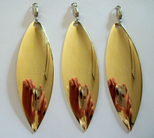 3 SPINNER BLADES # 7 SMOOTH GOLD w// BALL BEARING SWIVEL