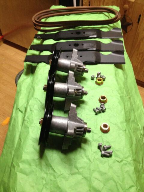 "Cub Cadet Lawn Mower GT 1554 54/"" Deck Rebuild Kit Spindles Blades Pulleys Belt"