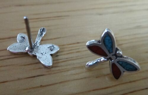 Sterling Silver 3D TINY 8x10mm Red /& Blue Dragonfly Studs Earrings!