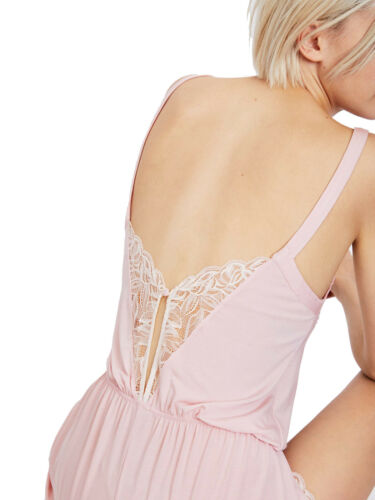 £25.99 Brand New Strappy Lace Trimmed Teddy in Pale Pink By Oysho