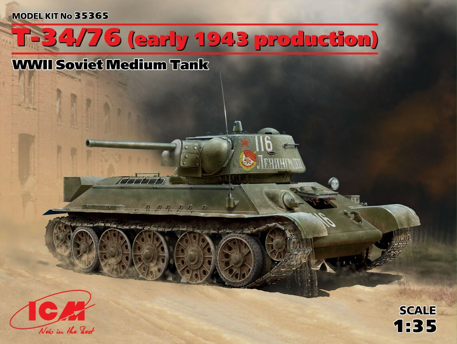 ICM 35365 T-34 76 (early 1943 production) WWII, 1 35 Plastic model 189 mm